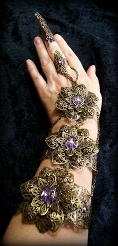 Steampunk bracelet, slave bracelet, pastel goth. Filigree and rhinestones. Design Cyanida