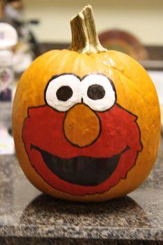 Painted Elmo Pumpkin
