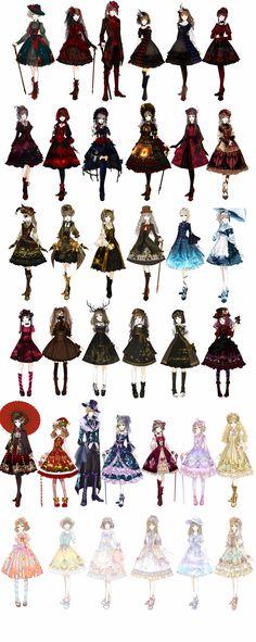 So many beautiful subkinds of Lolita! I am a sweet Lolita 💕 Estilo Lolita, Anime Outfits, Mode Outfits, Diy Outfits, Scene Outfits, Dress Anime, Fashion Illustration Techniques, Kleidung Design, Costumes