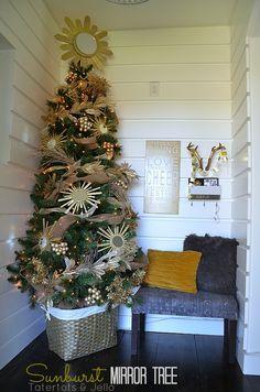 Sunburst Mirror Tree at Tatertots and Jello #DIY #Christmas