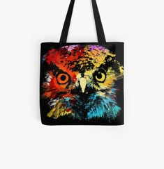 Cool Owl animal print tote bag. Watercolor art work for owl lovers. Animal Print Tote Bags, Beagle Art, Owl Animal, Dog Artwork, Best Dad Gifts, Owl Pet, Cat Dad, Cute Pugs, Cat Colors