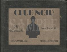 Club Noir Speakeasy Card Printable 1920s Sign Prohibition Roaring 20s Style Art Deco Gatsby Party We
