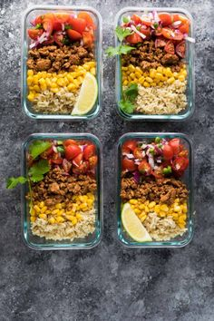 These Turkey Taco Lunch Bowls are the perfect make ahead (meal prep) work lunch recipe, and only 320 calories per portion!