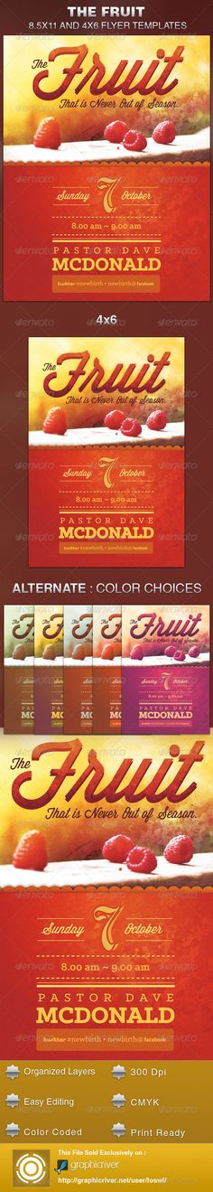 Fruit that is Never out of Season Church Flyer — Photoshop PSD #typography #harvest • Available here → https://graphicriver.net/item/fruit-that-is-never-out-of-season-church-flyer/5683251?ref=pxcr