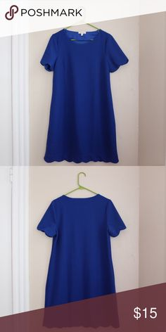 Bright Blue Scalloped Hem Dress Bright Blue Scalloped Hem Dress from Monteau. Lightweight, never worn. Monteau Dresses