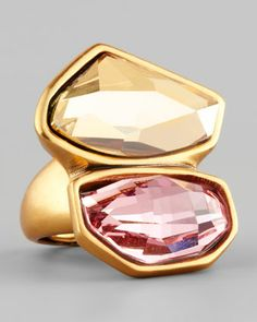 Abstract Faceted Crystal Ring, Rose/Yellow by Oscar de la Renta at Neiman Marcus.