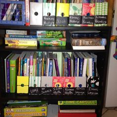 Magazine holders from target, with chalk board label stickers by Martha Stewart. Oh, this could make me very happy every time I look at my #homeschool bookshelf.