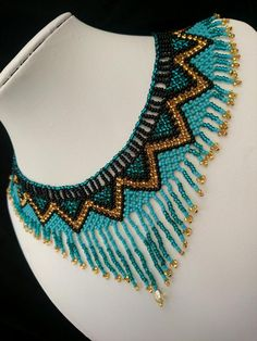Huichol beaded necklace Seed bead jewelry Women's necklace Turquoise beaded necklace Fringe necklace Beaded jewelry set Gift for woman - Perlen Schmuck Fringe Necklace, Seed Bead Necklace, Seed Bead Jewelry, Bead Jewellery, Seed Beads, Fine Jewelry, Women Jewelry, Jewelry Findings, Bead Loom Bracelets
