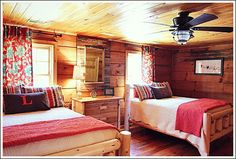 Log Cabin Interior Design - See a guest bedroom makeover! Like the light/fan and the antique table painted w/chalk paint Log Cabin Bedrooms, Log Cabin Homes, Log Cabins, Cabin Interior Design, Cabin Design, Cabana, Log Home Decorating, Decorating Ideas, Cabin Interiors
