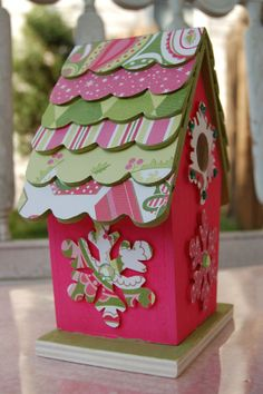decorating bird houses with scrapbook paper | Altered Christmas ...