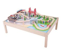 Wooden Train Set and Table Kids Rail City 59 Play Toy Pieces Railway Playset Kit