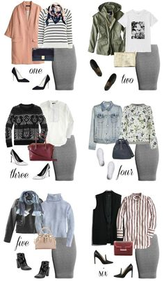Different outfits with one grey pencil skirt Work Fashion, Modest Fashion, Fashion Outfits, Apostolic Fashion, Office Fashion, Fashion Ideas, Fashion Tips, Fashion Capsule, Steampunk Fashion