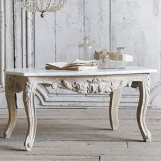 Eloquence One of a Kind Vintage Coffee Table Louis XV Washed Off White Gilt @LaylaGrayce