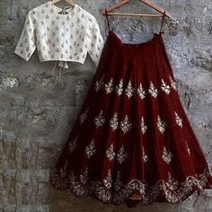 Banglory Silk Brown & White Embroidery Latest New Designer Lehenga Choli Indian Fashion Dresses, Indian Gowns Dresses, Indian Bridal Outfits, Dress Indian Style, Indian Designer Outfits, Fashion Outfits, Lehenga Choli Designs, Ghagra Choli, Simple Lehenga Choli