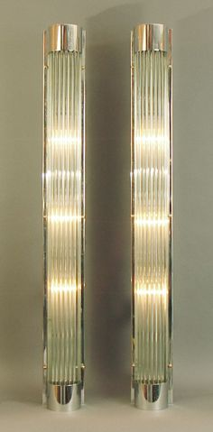 Art Deco/Modernist Glass Rod Wall Scones.