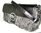 NWT Michael Kors Silver Leather Genuine Rabbit Fur FULTON Flap Clutch Bag Purse -