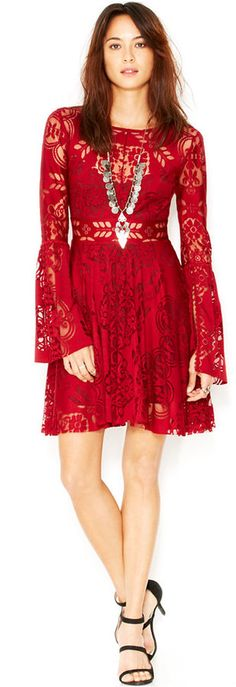 Free People Lace Lovers Folk Song Bell-Sleeve Flared Dress.