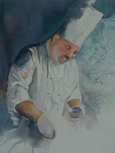 A chef is adding a pinch of salt to his recipe. This painting received a blue ribbon in the 2012 Henderson County Art Club annual Fine Art Show and a red ribbon place) at the 2012 State Fair of Texas in Dallas. Chefs, Salt Painting, Pinch Of Salt, Le Chef, Art Club, Bon Appetit, Illustration Art, Fat, Fine Art