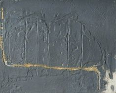 Grey Relief with an Ochre Line by Antoni Tapies, 1960–1961- Oil & sand on canvas, 65.4 x 81.3 cm