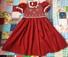 Burgundy Smocked Dress Girls 4 by lishyloo on Etsy, $20.00