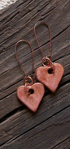Pink Heart Ceramic Earrings