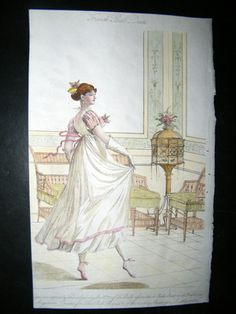 Belle Assemblee 1807 Hand Colored Regency Fashion Print French Ball Dress