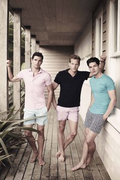 Pastel summer menswear fashion editorial - pale pink polo, light blue / green / turquoise t-shirt - http://pinterest.com/arenaint