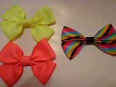 Neon and Stripe Hair Bows by bowsandmorestuff on Etsy