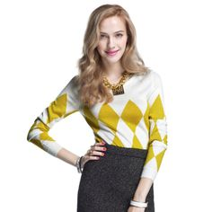 Winter New Women Rhombic Plaid Geometric Sweater O-neck Pullover Knitted Sweater