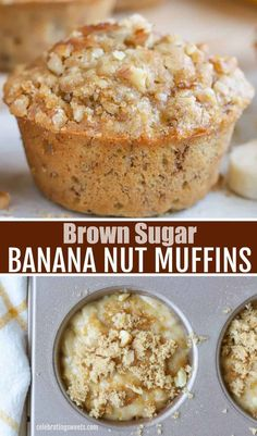 Soft and fluffy BROWN SUGAR BANANA NUT MUFFINS. This easy recipe comes together in minutes! Banana Dessert Recipes, Köstliche Desserts, Delicious Desserts, Yummy Food, Banana Recipes Simple, Recipes For Bananas, Best Banana Muffin Recipe, Banana Breakfast Recipes, Breakfast Muffins
