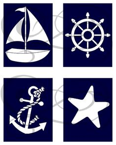 Nautical Nursery Prints Set of 4 by OnceUponAPrints on Etsy, $16.00