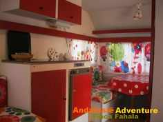 Kitchen and small sitting area Spanish caravan