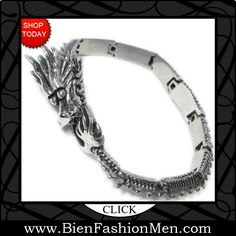 Mens Bold Bracelets | Mens Bracelets | Mens Bracelet | Mens Jewelry | Mens Accessories | Bracelets on Men | Mens Jewelery | Shop Now ♦ Stainless Steel Whole Dragon Men Bracelet $35.00