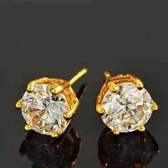 9K Yellow Gold Filled 8mm White CZ Stud Hypo-Allergenic Pierced Earrings #Stud