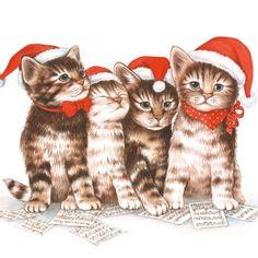 napkins christmas,  Animals - cats,  Christmas,  lunchnapkins,  cats