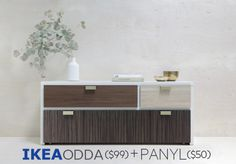 ODDA Hack Pack | Get the look you want for less with PANYL self-adhesive finishes $150 PANYL + IKEA COMPARED TO $1200 WEST ELM