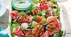 Add a fresh summer kick to your barbecue salad with juicy pieces of watermelon.