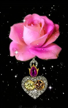 By Artist Unknown. Beautiful Flowers Wallpapers, Beautiful Rose Flowers, Pretty Roses, Beautiful Gif, Flowers Gif, Butterfly Flowers, My Flower, Flower Art, Butterfly Pictures