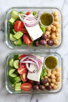 Greek Chickpea Salad 2019 Greek Chickpea Salad made with chickpeas cucumbers tomatoes bell peppers olives and Feta is perfect to make ahead for lunch for the week! The post Greek Chickpea Salad 2019 appeared first on Lunch Diy. Lunch Meal Prep, Healthy Meal Prep, Healthy Cooking, Healthy Snacks, Healthy Recipes, Lunch Snacks, Lunch Box, Keto Recipes, Veggie Lunch Ideas