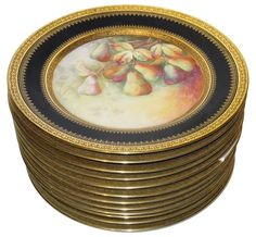 Set of Twelve (12) Limoges Dinner Plates with Painted Fruit Decoration by Michelaud Freres - $3600.