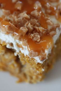 Pumpkin Poke Cake Recipe ~ Says: The cake is super moist with a slight flavor of pumpkin pie and fall spices and is infused with the sweetness of sweetened condensed milk. The whipped topping isn't too sweet  and the toffee pieces and caramel drizzle complement the pumpkin flavors perfectly!.