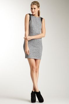 Gray sheath dress with black cap sleeves and black ankle boots #minimalist #fashion