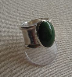 Silver ring with Jade cabuchon