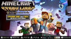 'Minecraft: Story Mode' - Episode 1: 'The Order of the Stone' is NOW FREE on multiple platforms!  Check out the premiere chapter of this exciting, blocky adventure for free on PlayStation 4, Xbox One, PlayStation 3, Xbox 360 and mobile devices!  Details here: https://telltale.com/news/2016/10/-minecraft-story-mode---a-telltale-games-series-season-premiere-now-free-on-multiple-platforms #minecraft #pcgames