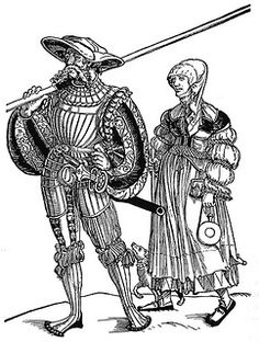 Landsknecht Pikeman armor From the First Half of the Century by Jason Grimes In researching pikemen's armor there are several research approaches. One is to look at woodcuts or paintings to determine what kind of armor Landsknecht 16th Century Clothing, 16th Century Fashion, 17th Century Art, German Outfit, Snow White Costume, Medieval Paintings, Smocking Patterns, Landsknecht, German Women