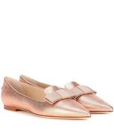 JIMMY CHOO Gala Metallic Ballerinas. #jimmychoo #shoes #flats #jimmychooheelsmanoloblahnik