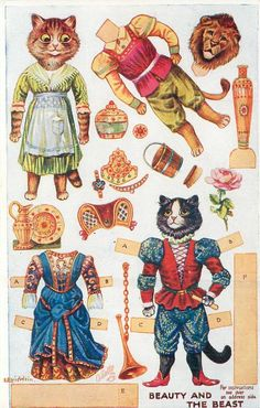 FRONT of POSTCARD <<=>> Information <<=>> Set Title: DRESSING DOLLS' FAIRY TALE, Series V Set Comment: Oilette, Printed In England, Copyright London, Cut Outs; Instructions on back, From a Louis Wain Original Painting, see Booth and Lund. Listed in 1930 Postcard Catalogue Card Title: BEAUTY AND THE BEAST Number: 3385 Artist: LOUIS WAIN