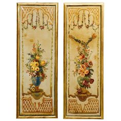 6900 H 63 in. x W 22 in. x D 1.5 in.   French Napoleon III Period Painted Decorative Panels with Bouquets, circa 1860 | From a unique collection of antique and modern Paintings at https://www.1stdibs.com/furniture/wall-decorations/paintings/.