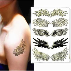 9c685a1ff M-Theory Sexy black angel wings Body Art Temporary Flash Tattoos Tatoos  Sticker Party Dress Swimsuit Makeup