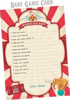 6-Piece-Suite - Circus Baby Shower Invitation, Circus BabyShower Theme, Carnival Baby Shower, Vintage Circus Baby Shower invites, Elephant   Hello